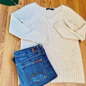 💜Ralph Lauren Thick Knit Cream V-Neck Sweater L